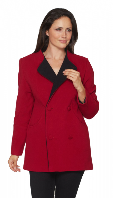 Womens Cashmere Wool Classic Lady Short Red Coat K414C